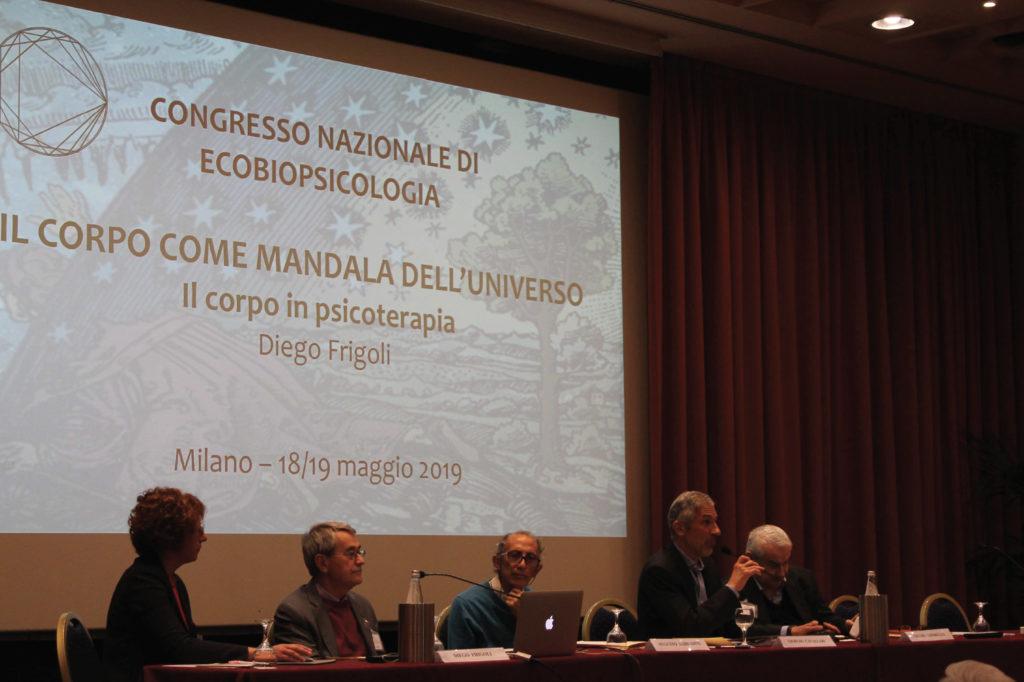 Diego Frigoli, Augusto Shantena Sabbadini, Giorgio Cavallari, Giulio Giorello durante la prima giornata del primo Congresso Nazionale di Ecobiopsicologia