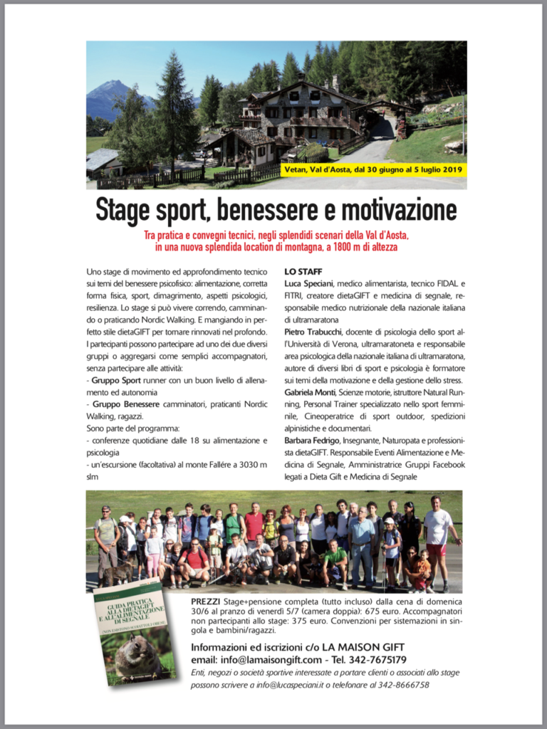 Volantino Stage, sport benessere motivazione La Maison Gift